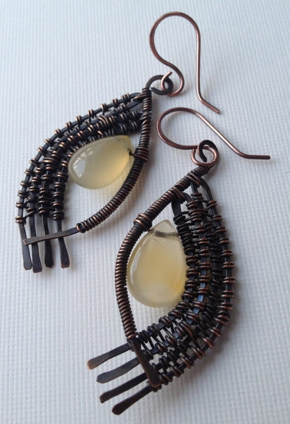Reserved for J. Yellow agate earrings in copper with wire wrapped woven frame