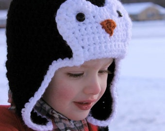 Penguin Hat - Crochet Pattern (Bomber Style) - Permission to sell finished items