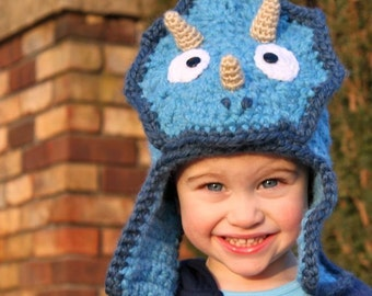 Featured in Inc Magazine Triceratops Hat - Crochet Pattern (Bomber Style) - Permission to sell finished items