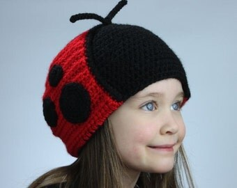 Ladybug Hat - Crochet Pattern (Earflap Style) - Permission to sell finished items