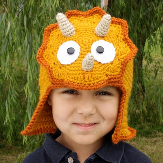 Worsted Weight Triceratops Hat - Crochet Pattern - Permission to sell finished items