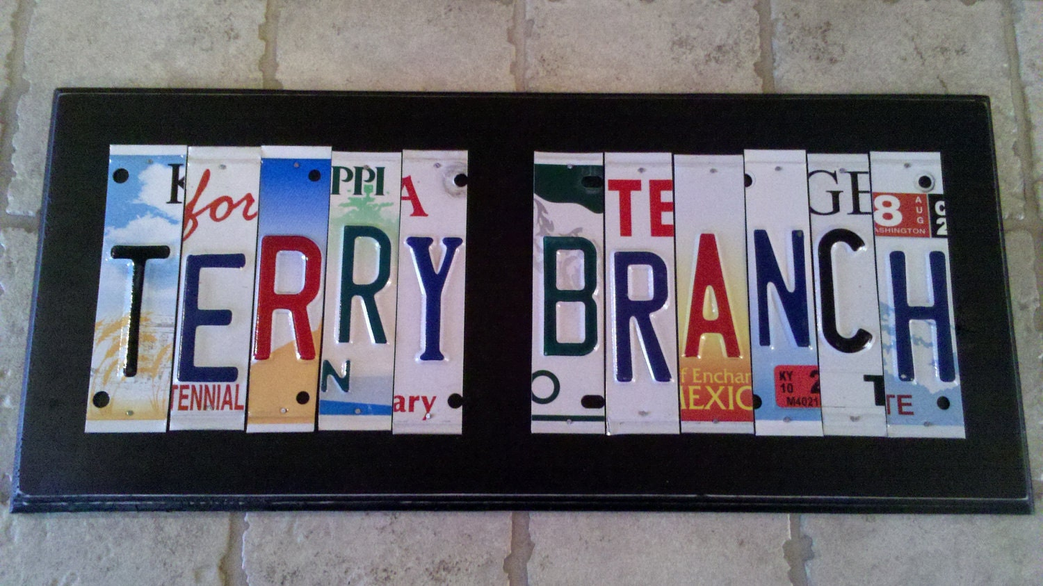 Custom license plate sign 11 to 13 letters by for Custom license plate letters