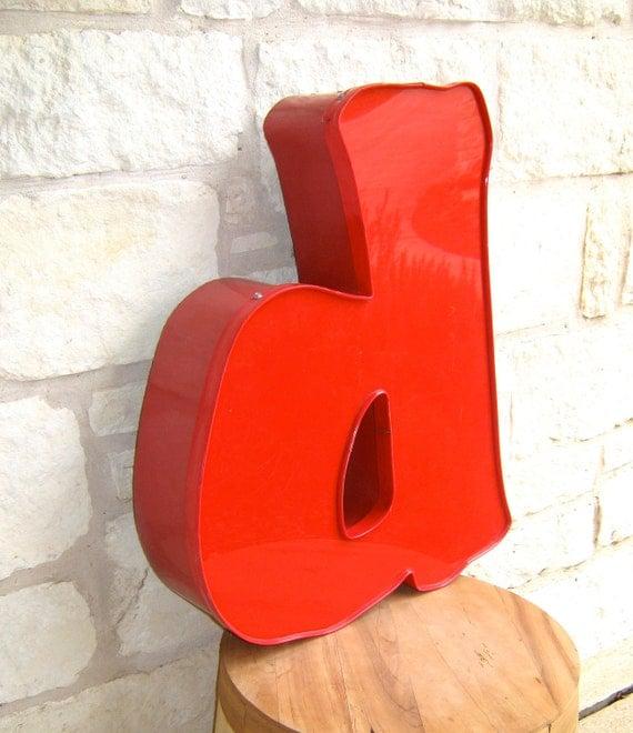 Reserved for David Red Vintage Industrial Lowercase Letter 'd'