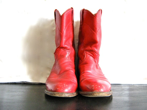 Vintage Ladies Cherry Red Justin Boots Size 9.5