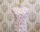ODILE - SIZE 10 pinup shirt with neck bow tie in red on white umbrella polka dot print poly cotton poplin, medium