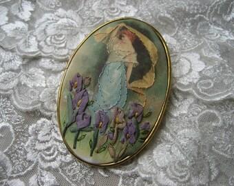 Silk ribbon hand embroidered silk print brooch