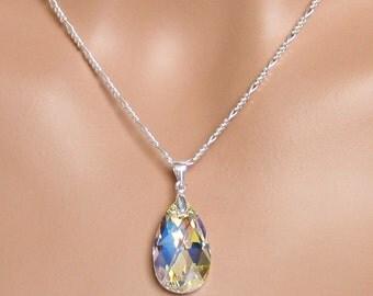 Swarovski Crystal Teardrop Pendant, Bridal Jewelry Set, Bridesmaids Gifts, Wedding Jewelry Set, Bridesmaids Jewelry Set