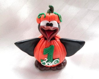 PERSONALIZED PumpGuin - Pumpkin Suit Halloween Penguin - Polymer Clay - PenGuin Kisses
