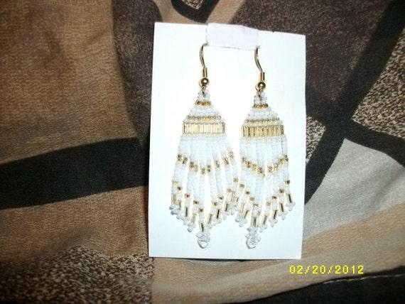 Gold, White n Cream Beaded Earrings