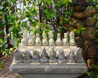 GARDENERS CHESS SET, Choose Your Color. Chess Board U0026 32 Pieces. Solid Stone
