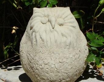 Solid Stone FAT OWL Original Garden Sculpture