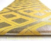 Vintage Japanese obi, Gold Thread and Yellow Silk. Fabulous Geometric Design