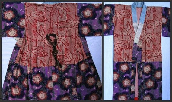 Antique Cotton Juban. Japanese Robe Worn Under Kimono. (1800-1900s)