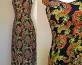 1970s maxi dress - Paisley long dress - sleeveless black print - size extra small