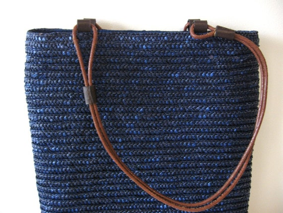 SALE Navy blue woven straw tote bag with leather handles
