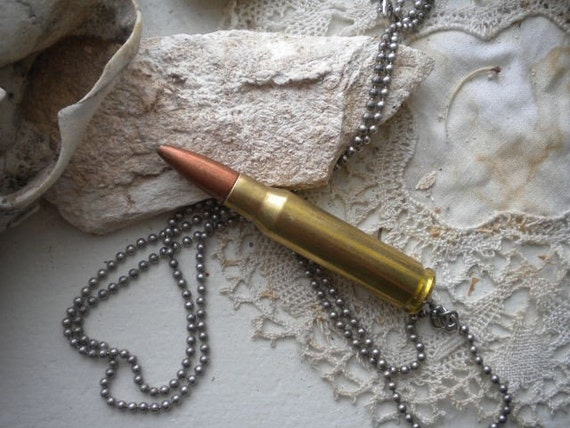 C1 Bullet Pendant on Vintage Ball Chain Necklace