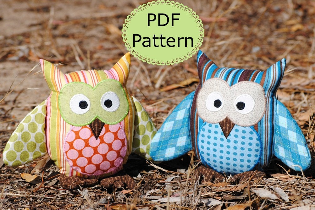 Soft Toy Patterns : Pdf sewing pattern for owl soft toy cushion make and sell
