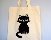 Cute Black Cat Canvas Tote Grocery Bag