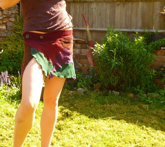 Recycled Patchwork Fabric Wrap Mini Skirt/layer