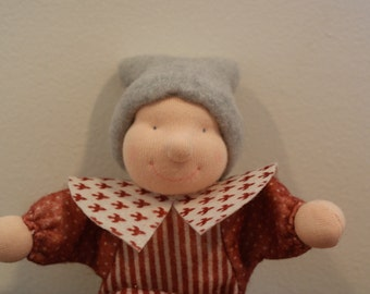 Mini puppet, waldorf style gnome with bell, Christmas fabric