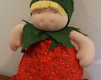 Waldorf style chunky doll with diaper, red dress and green hat, cuddly doll, girl doll, imaginary play