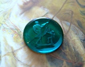Vintage Emerald Incised Glass Cameo Cupid and Mercury Deco Stones
