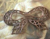 Vintage Rare Original Old Brass Filigree Bow Pendant