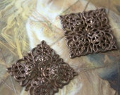 2 Vintage Old Brass Gorgeous Square Filigree Pieces
