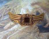 RESERVED for emenow 2 Vintage UNIQUE Art Deco Original Brass Cold Paint Enamel Buckles