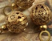 12 Vintage Old Brass SUPERB Large Detailed Filigree Beads