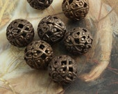 7 Vintage Old Brass Gorgeous Filigree 12mm Beads