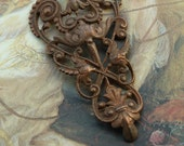 Vintage Gorgeous RARE Art Deco Very Detailed Old Brass Filigree Pendant Piece