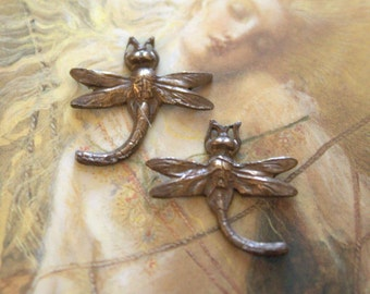 2 Vintage Tiny Dragonfly  dArt Deco Super Detailed Old Brass Pieces