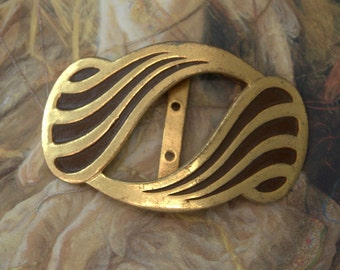 Vintage Unusually Pretty Art Deco Original Brass Cold Paint Enamel Buckle