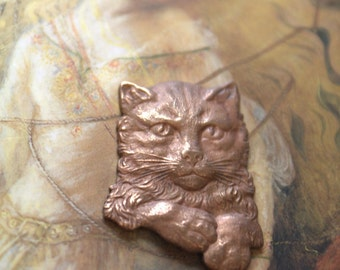 Vintage Awesome Old Brass Pouty Kitty Piece