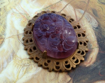 Vintage Beautiful Carved Glass Floral Pendant