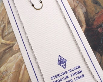 """5 Rare Vintage STERLING SILVER Rhodium Finish Chains Jewelers Stock - 15"""""""