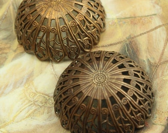 2 Vintage Gorgeous Unique Filigree Old Brass Domed Pieces