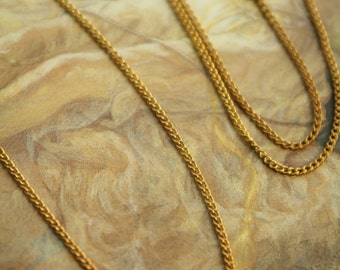 "Delicate OLD Solid Brass Vintage 16"" Link Chain"