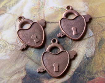 3 Vintage Very Old Brass Etched Heart Locket Charm Pendants