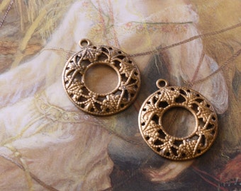 2 Vintage Gorgeous Old Brass Very DECO Ornate Filigree Pendants