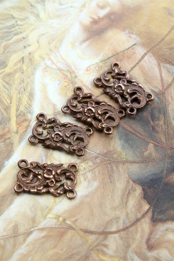 4 RARE Very OLD Vintage Brass Floral Connector Pendants