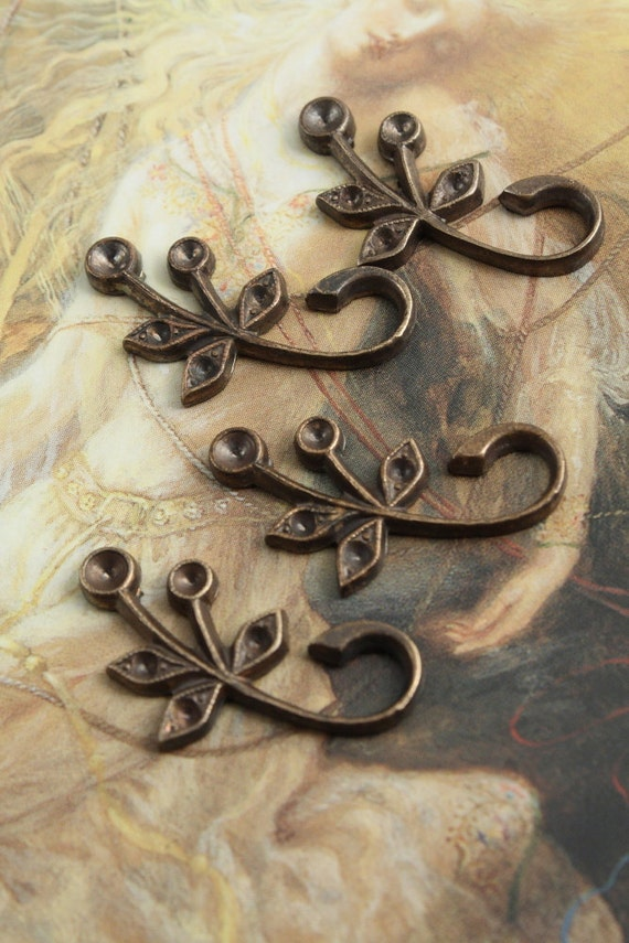 4 Vintage Cool Old Brass RARE Ornate Floral Pieces