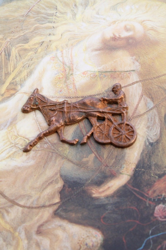 Vintage OLD Solid Brass Ornate Racing Horse and Cart Piece