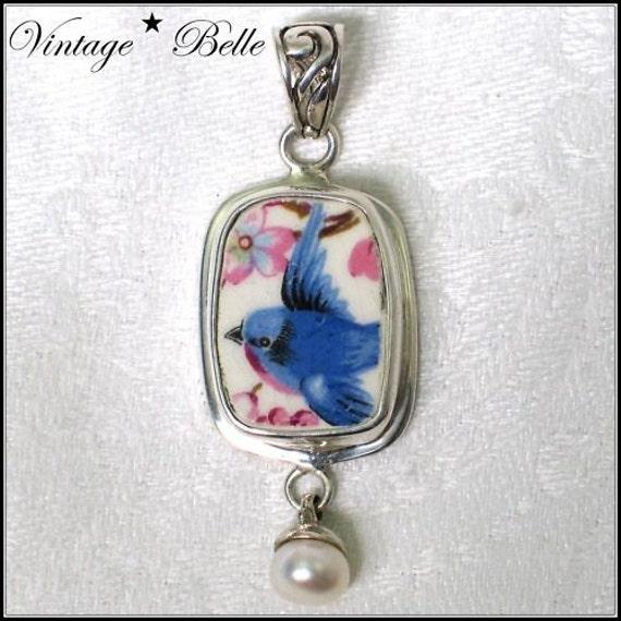 Vintage Bluebird of Happiness Broken China Jewelry Sterling Pendant