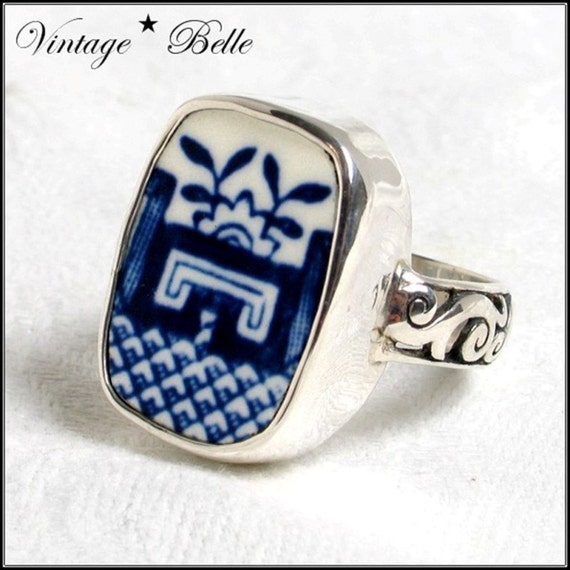 SZ 6 Broken China Jewelry Blue Willow Sterling Ring 6