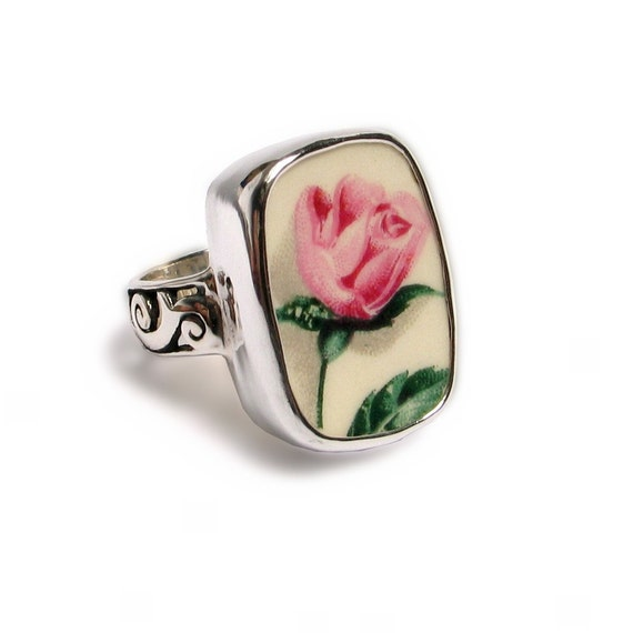 Broken China Jewelry Pink Rose Bud Sterling Ring Size 7