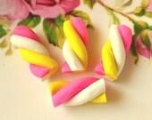 Polymer Clay Marshmallow Cabochons 20 pcs -Yummu Miniature Sweet Candy Cabochon