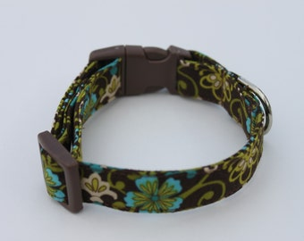 Green Turquoise nd Brown Floral Dog Collar Size XS, S, M, L