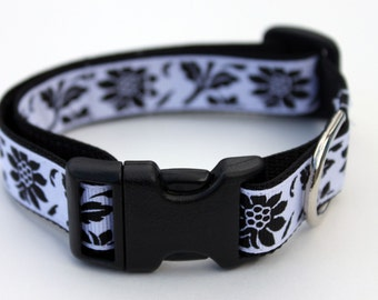Black and White Floral Dog Collar Size Small